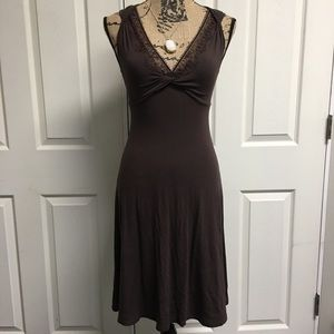 Express XS Brown V-Neck with lace Dress